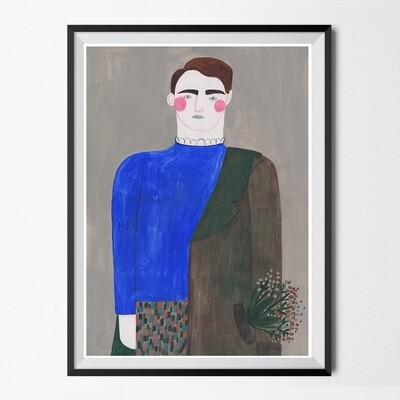 HM X ERDEM BLUE BOY original painting A3