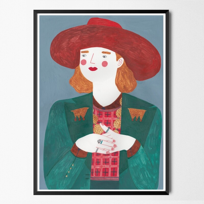 GUCCI HAT GIRL original painting A3