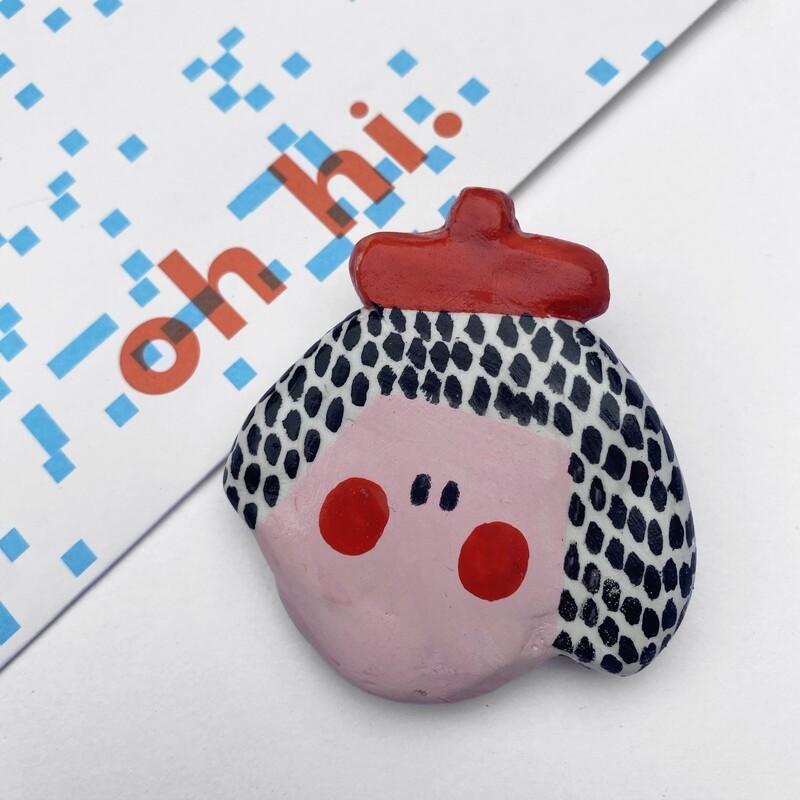 POOR THING red beret girl pin