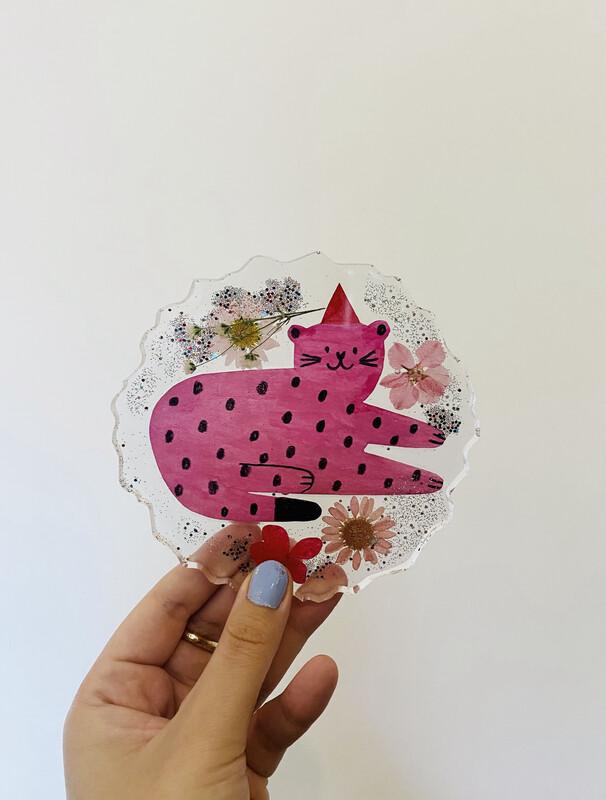 PINK TIGER resin coaster