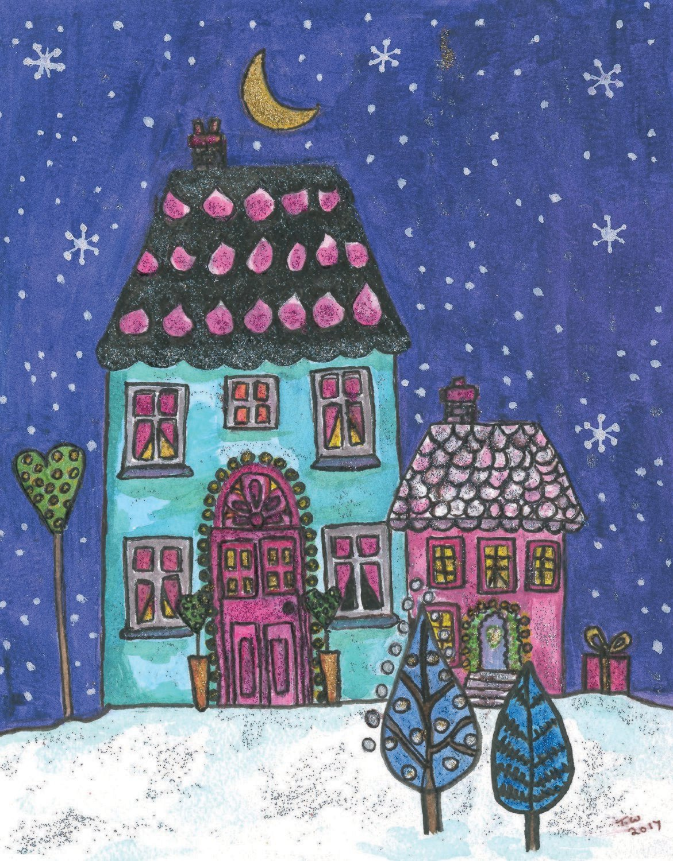 Christmas Cards Christmas House Snow Reindeer