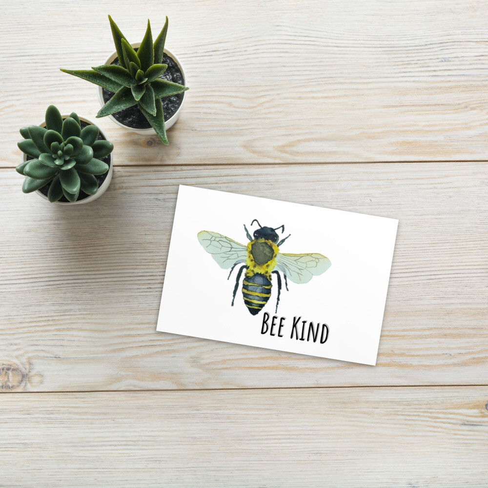 """Bee Kind"" Bohemia Bee watercolor collection Standard Postcard"
