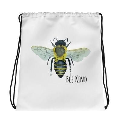 """Bee Kind"" Bohemia Bee watercolor collection Drawstring bag"