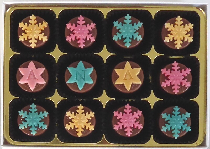 Sparkly Snowflakes - marzipan chocolates