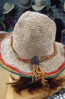 Hemp Hat with peace sign headband