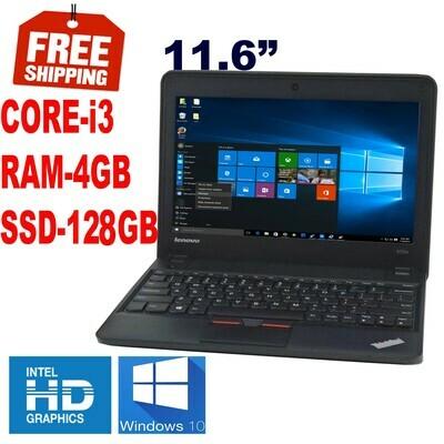 "Lenovo ThinkPad X131e ( 2.4 GHz 4 GB 128 GB SSD)-11.6"" HD Graphics Notebook Laptop Win 10 PRO"