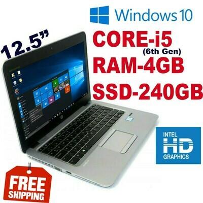 "HP Elitebook 820-G3 (i5-6300U 2.4 GHz 4 GB 240 GB SSD)-12.5"" HD Graphics Notebook Laptop Win 10 PRO"