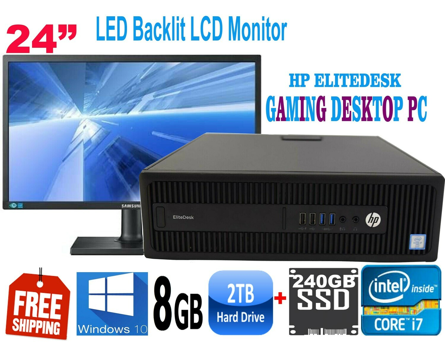 """HP Elitedesk 800-G2 ALL-IN-ONE Gaming Desktop 24"""" LED i7-6700 8GB 240GB SSD + 2TB HDD-HD Graphics Win 10"""