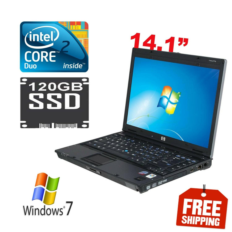 "HP Compaq 6910P C2D 2.1 GHz 2 GB 120 GB SSD-14.1"" Notebook Laptop HD Graphics Win7"