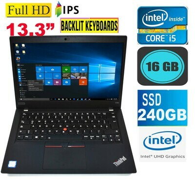 "Lenovo Thinkpad X390 (i5-8265U 16 GB 240 GB SSD)-13.3""FHD IPS 4G Sim Slot Business Laptop Win 10 PRO"