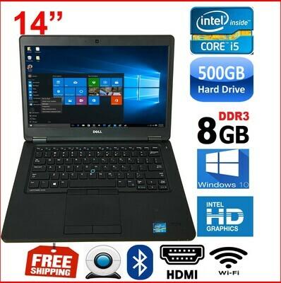"""Dell Latitude e5450 i5-5200U 8GB 500GB-14"""" HD Graphics Notebook Laptop Win10 PRO"""