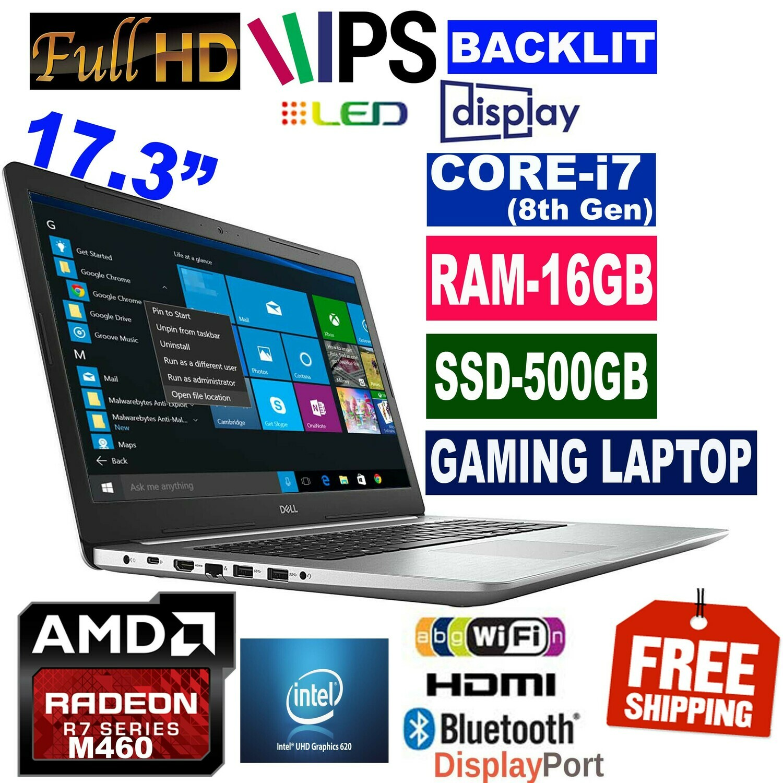 "Dell Inspiron 5770-17.3"" Gaming Laptop (i7-8200U 16GB 500GB SSD AMD Radeon R7 M460 Intel HD 620 Graphics Win10 PRO"