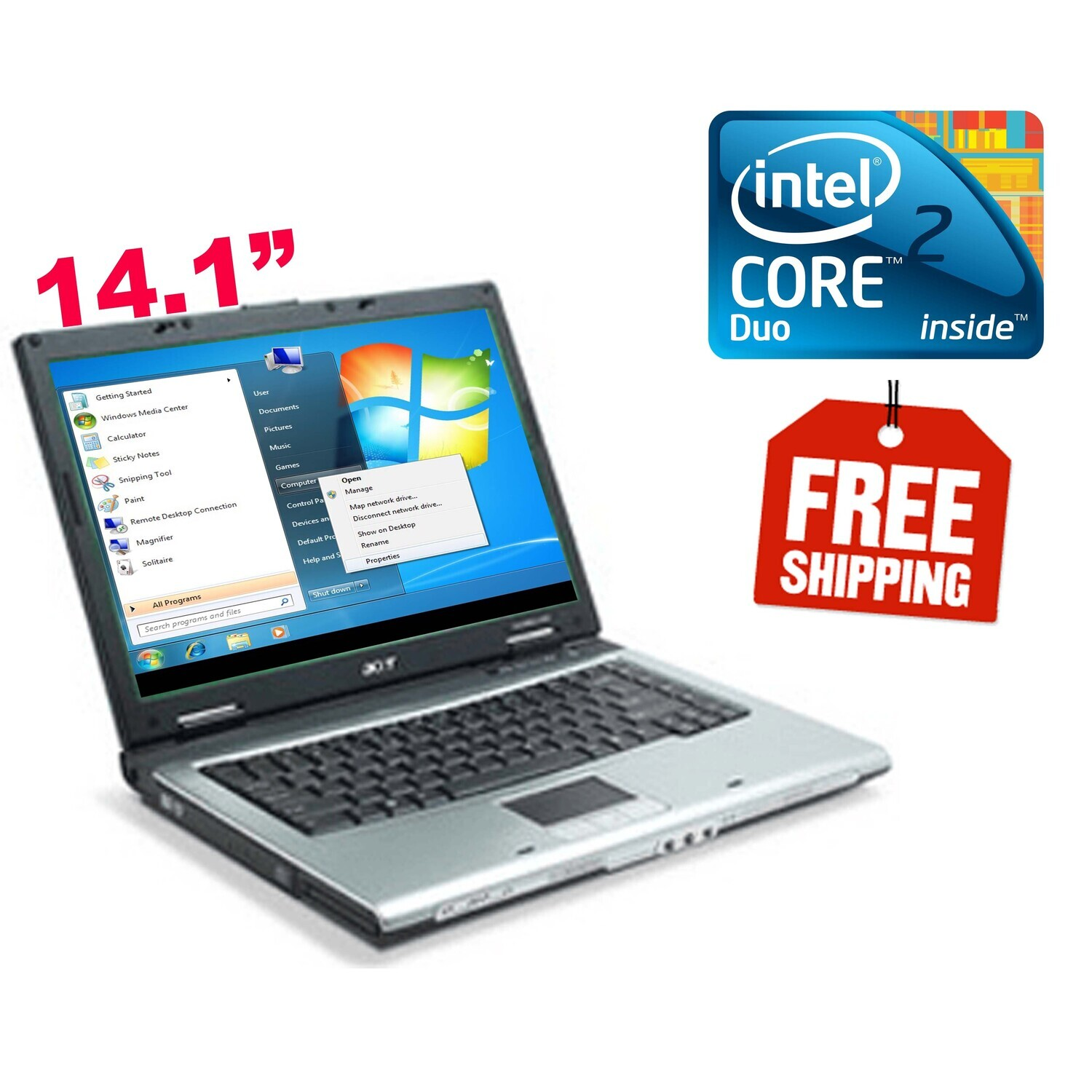 """Acer Travelmate 3230 C2D 1.73GHz 2GB 60GB-14.1"""" HD Graphics Laptop Win7"""