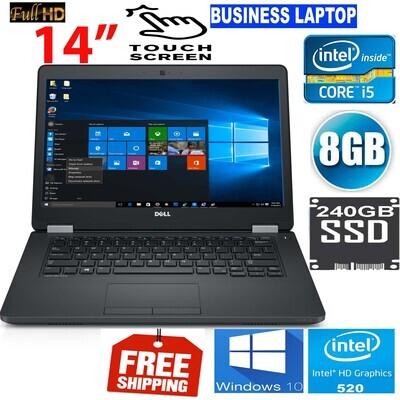 "Dell latitude E5470 i5-6440U @ 2.6 GHz 8 GB 240 GB SSD -14"" HD-520 Graphics TouchScreen Business Notebook Laptop Win 10 PRO"
