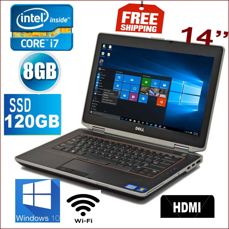 """Dell Latitude e6420 i7 2.8 GHz 8 GB 120 GB SSD-14"""" LED HD Graphics Laptop Win10 PRO"""