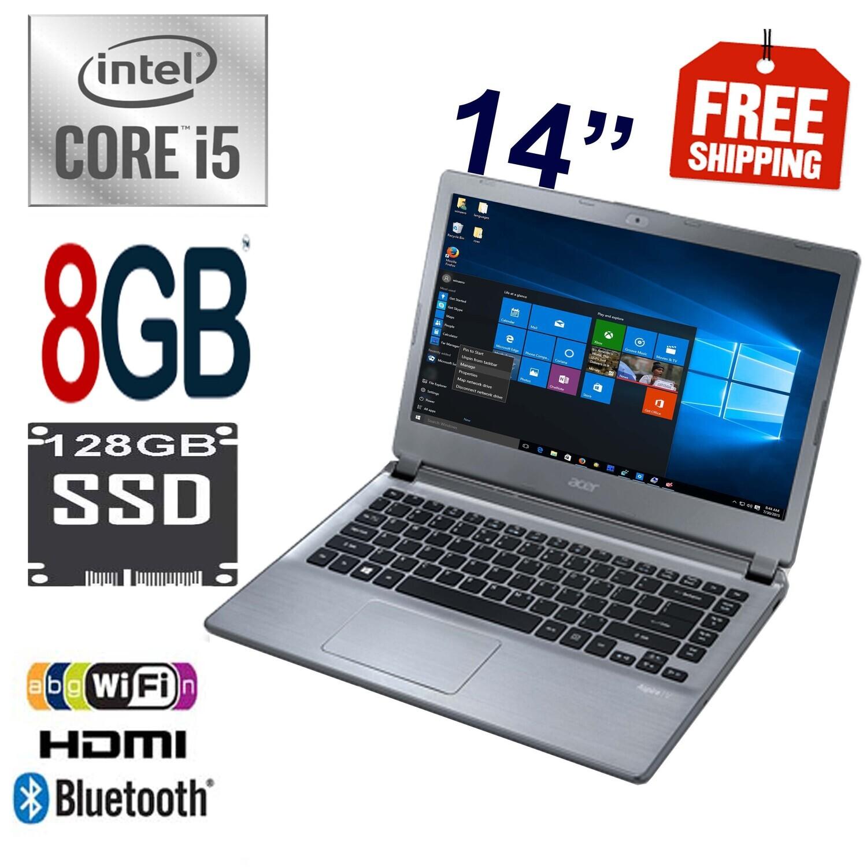 "Acer Aspire V5-473 i5-4200U 2.6 GHz 8 GB 128 GB SSD-14"" HD Graphics Notebook Laptop Win10"