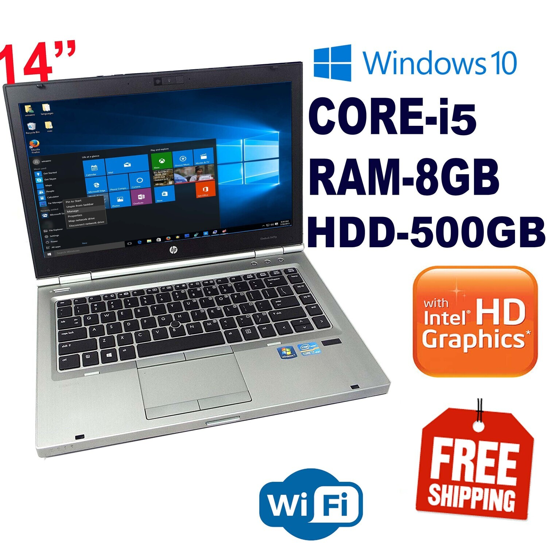"HP Elitebook 8470P i5 8 GB 500 GB HDD Notebook Laptop-14"" HD Graphics Win10 PRO"