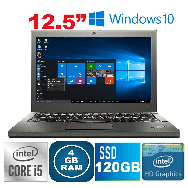 "Lenovo ThinkPad X250 (i5-5th Gen 4GB 120GB SSD)-12.5"" LED HD Graphics Win10 PRO"