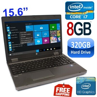 "HP ProBook 6560B (i7 2.6 GHz 8 GB 320 GB HDD)-15.6"" HD Graphics Notebook Laptop Win 10"