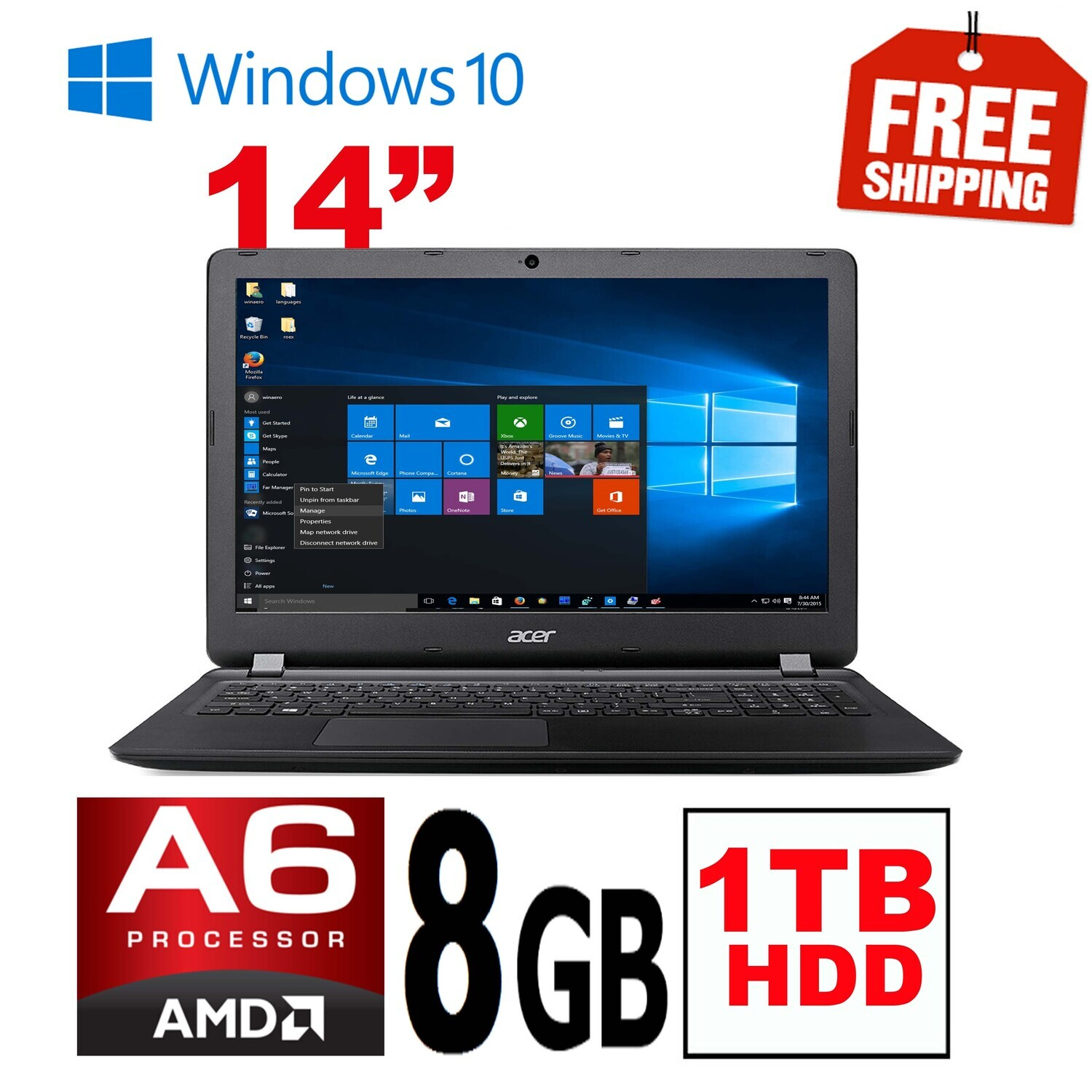 """Acer Aspire ES1-524 AMD A6-7310 1.8GHz 8GB 1TB 15.6"""" HD Graphics Laptop Win10"""