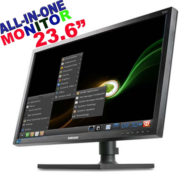 """SAMSUNG TC241W 23.6"""" HD LED ALL-IN-ONE MONITOR INTEL ATOM 2GB 8GB BODHI LINUX"""