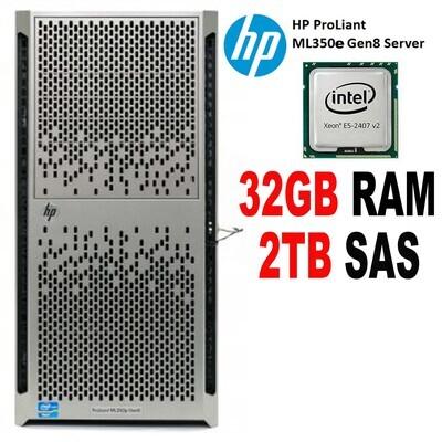 HP ProLiant ML350e Gen8 Server E5 2407 v2 2.4GHz 2TB SAS 32GB Tower exec Cond