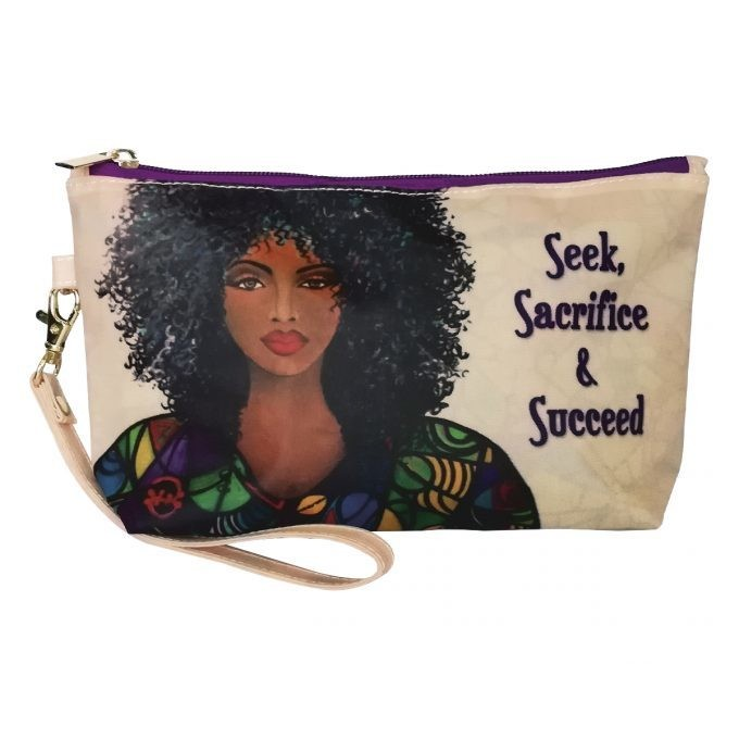 SEEK, SACRIFICE AND SUCCEED COSMETIC POUCH