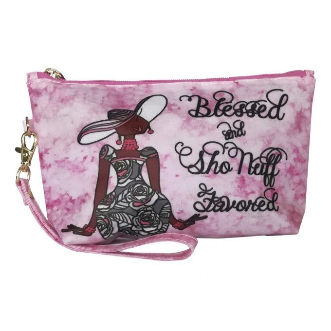 BLESSED AND SHO NUFF FAVORED COSMETIC POUCH