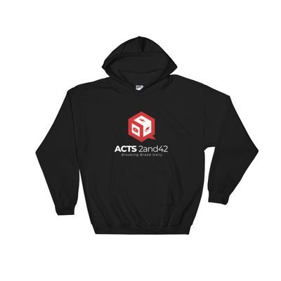 Acts 2and42 Dark Hooded Sweatshirt