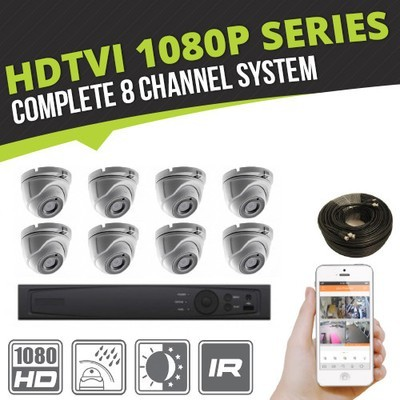 Complete 8 Channel HD-TVI 1080p Dome Surveillance System - FREE SHIPPING