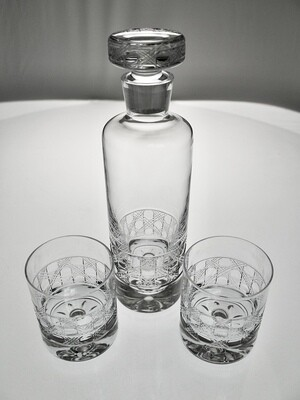 Decanter and Rocks Glasses (Cane Pattern)