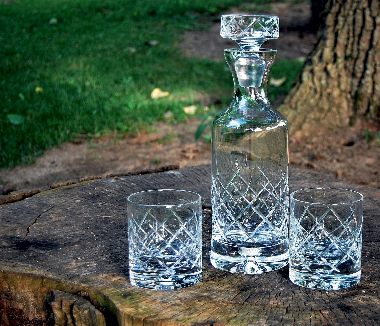 Decanter & Rocks Glasses (Punty Crosshatch pattern)