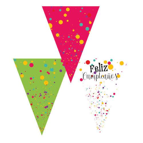 Banderines Colores Feliz Cumpleaños