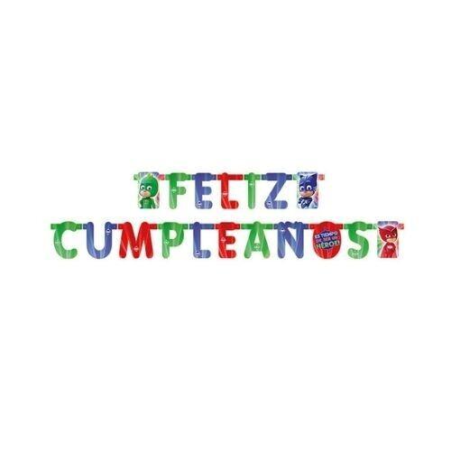 Letrero Feliz Cumpleaños PJ Masks