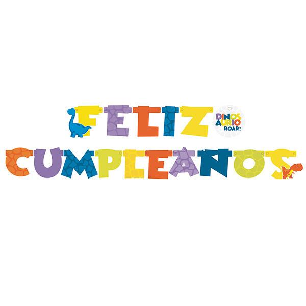 Letrero Feliz Cumpleaños Dinosaurios