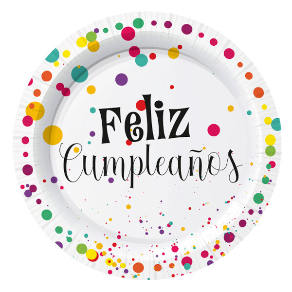 Platos Carton #7 Feliz Cumpleaños 10/1
