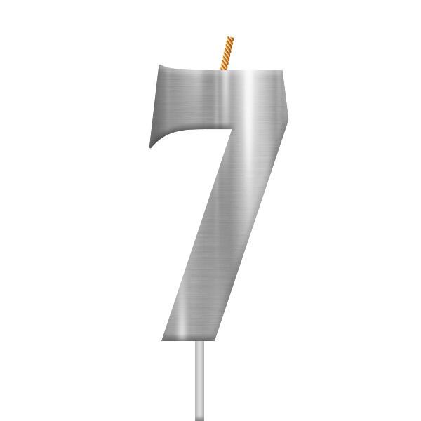 Vela Plateada Numero 7