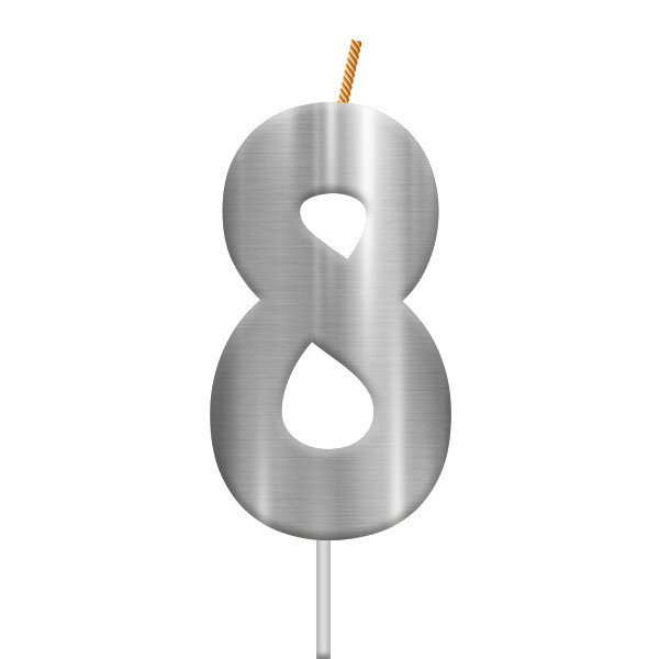 Vela Plateada Numero 8