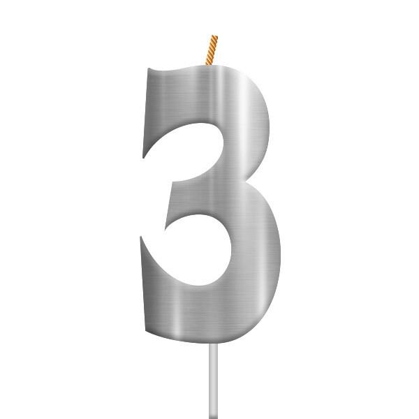 Vela Plateada Numero 3