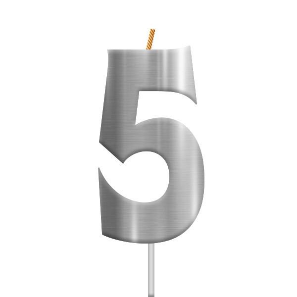 Vela Plateada Numero 5