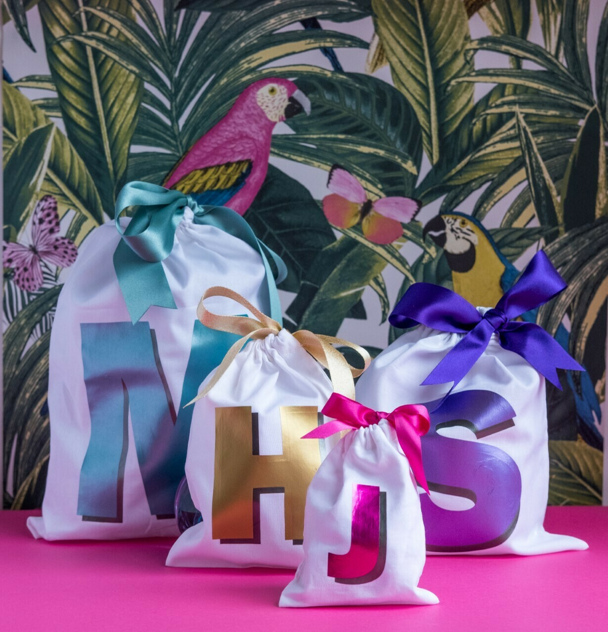Bold shadow initial party bags