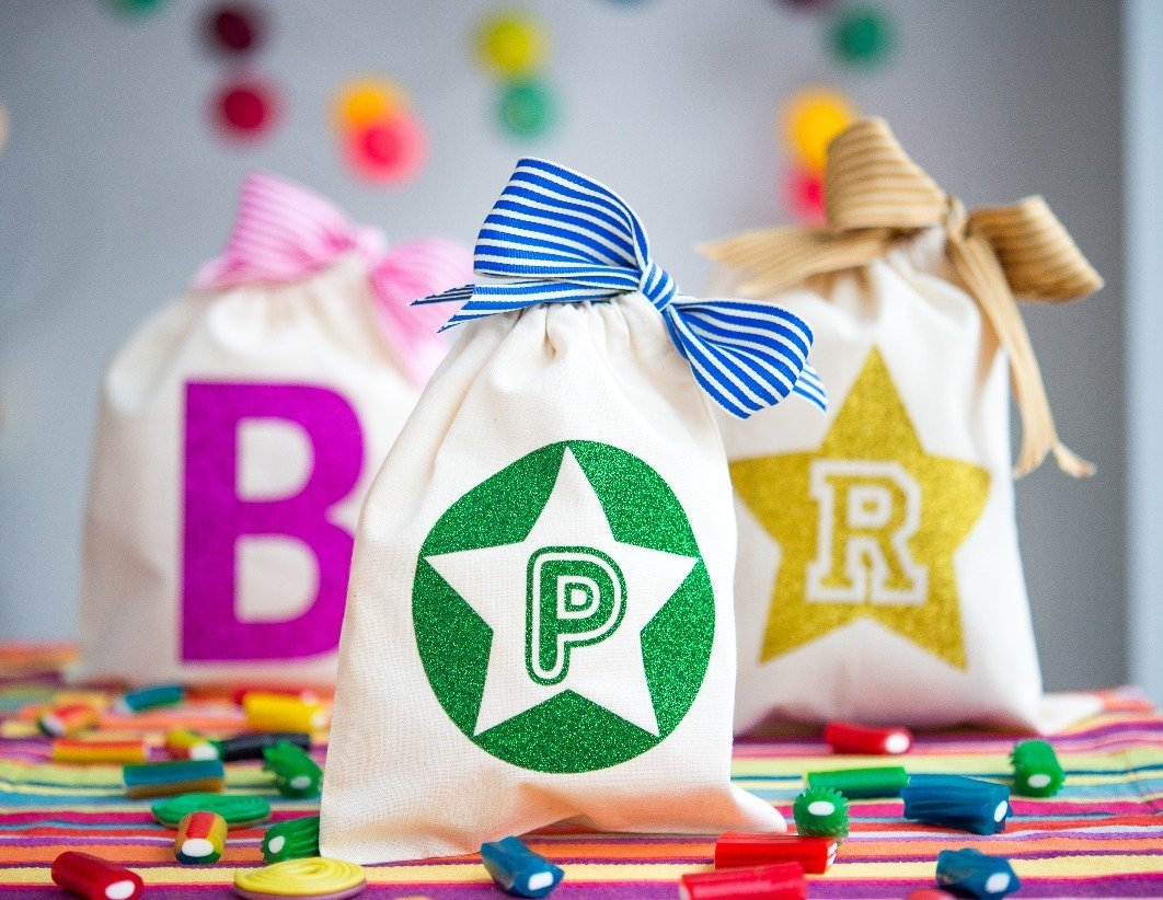 Personalised initial party bags
