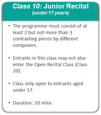 Class 10: Junior Recital - Under 17 years