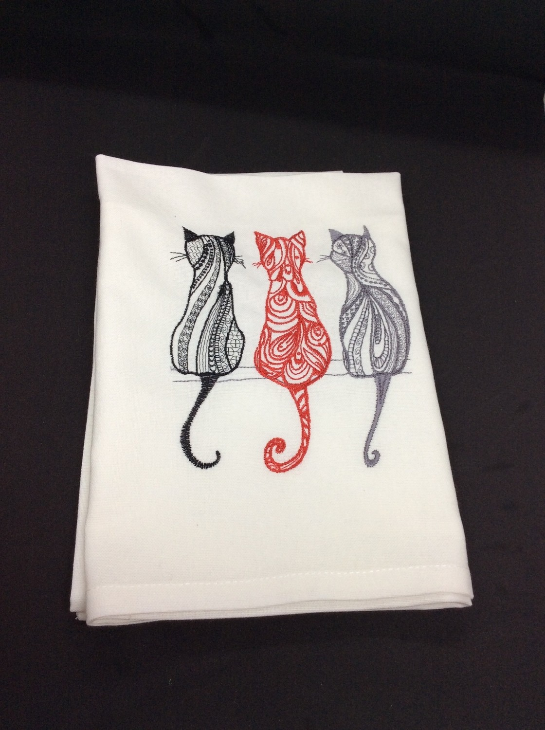 Tea Towels, Machine Embroidered, Cat themed
