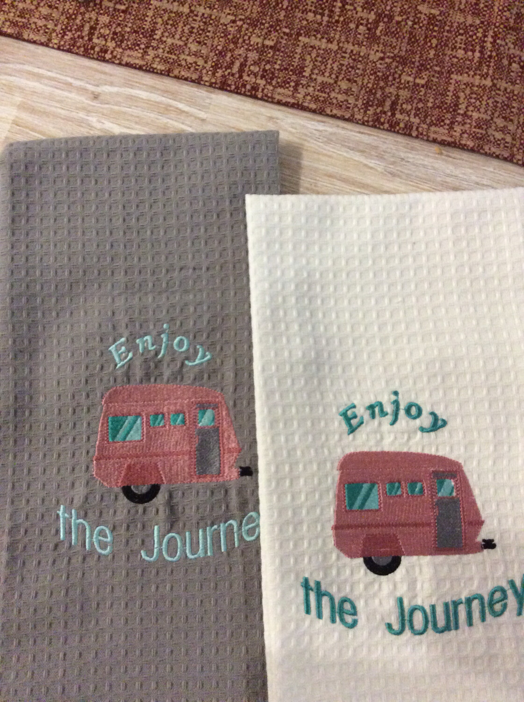 Tea Towels, Machine Embroidered, Caravan Themed