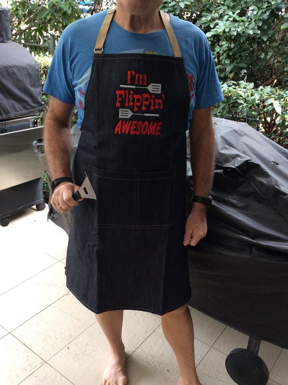 Denim BBQ Apron, Machine Embroidered