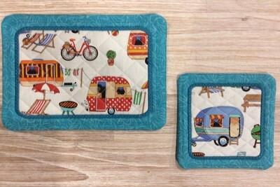 Caravan Themed Mug Rug & Coaster