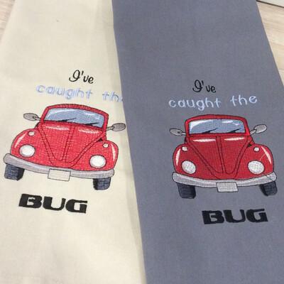 Tea Towels, Machine Embroidered, VW Beetle/Bug Inspired