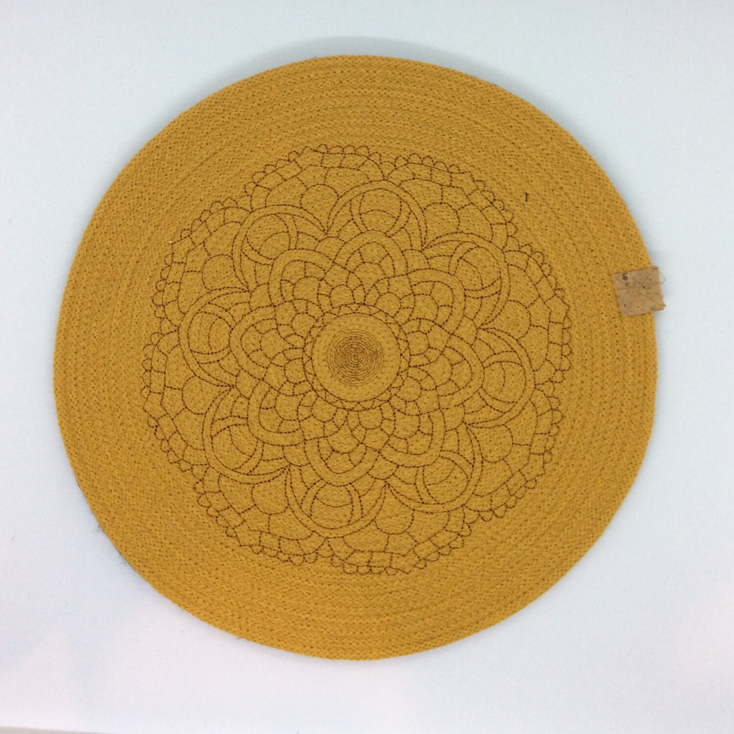 Embroidered Mandala Rope Placemats - Mustard