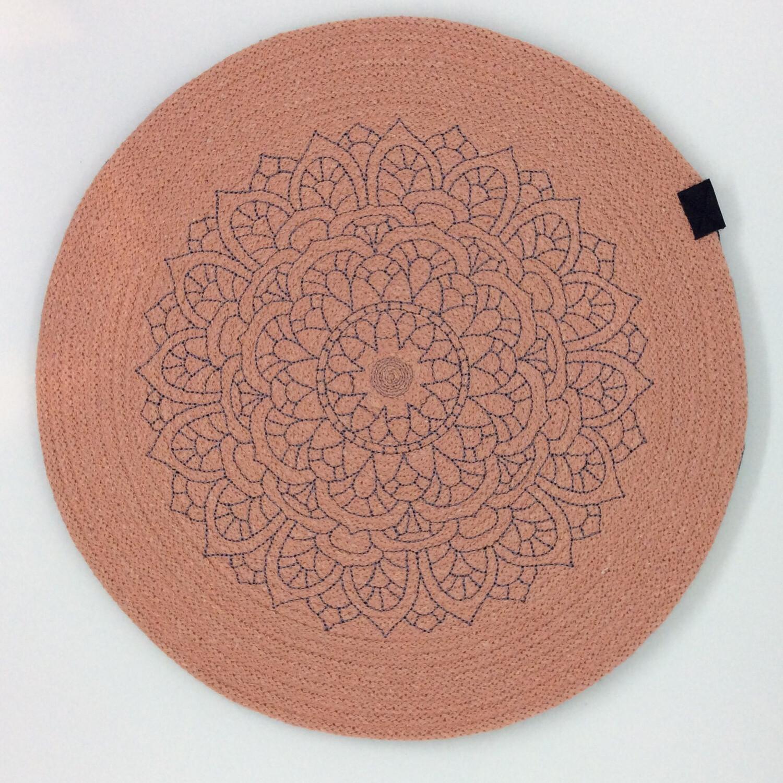 Embroidered Mandala Rope Placemats - Blush